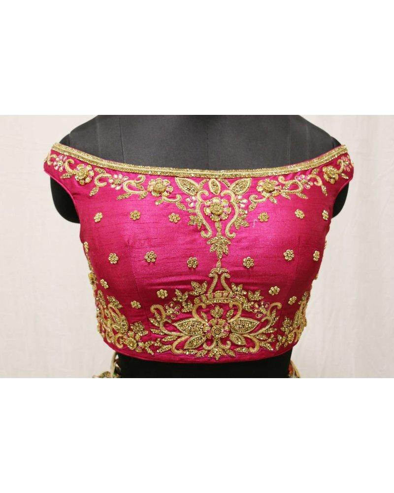 Pink embroidered choli with khakhi floral printed lehnga