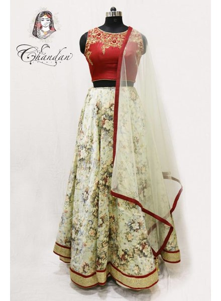 Maroon embroidered choli with pista floral printed lehnga