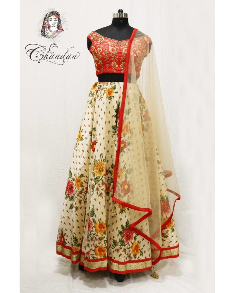 Red embroidered choli with beige floral printed lehnga