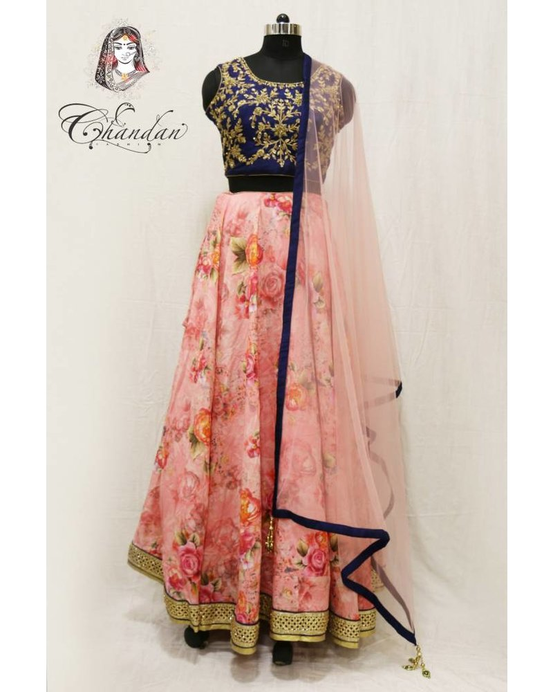 Navy Blue embroidered choli with pink floral printed lehnga
