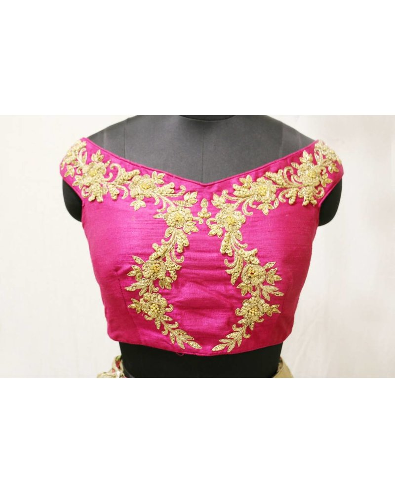Pink embroidered choli with mouse floral printed lehnga