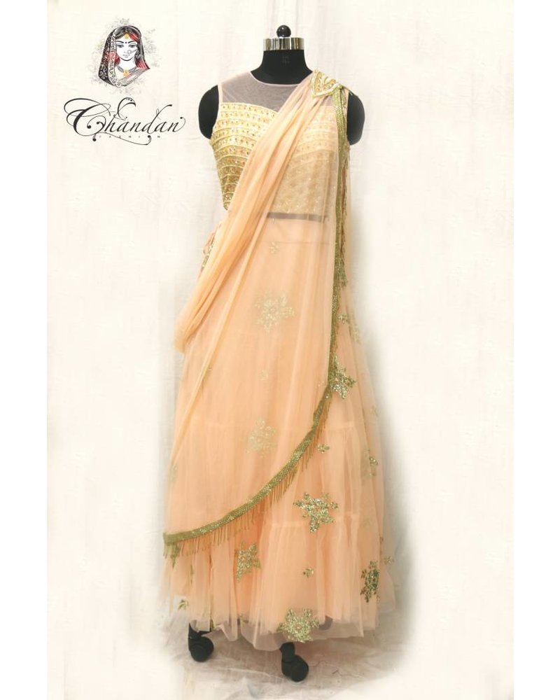 L.Peach lehenga choli with embroidery and sippy work