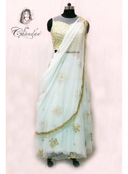 Mint lehenga choli with embroidery and sippy work