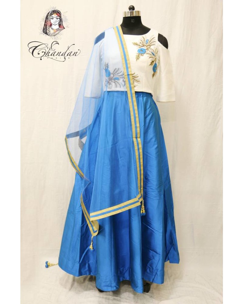 Off White and Blue Lehenga Choli with embroidery
