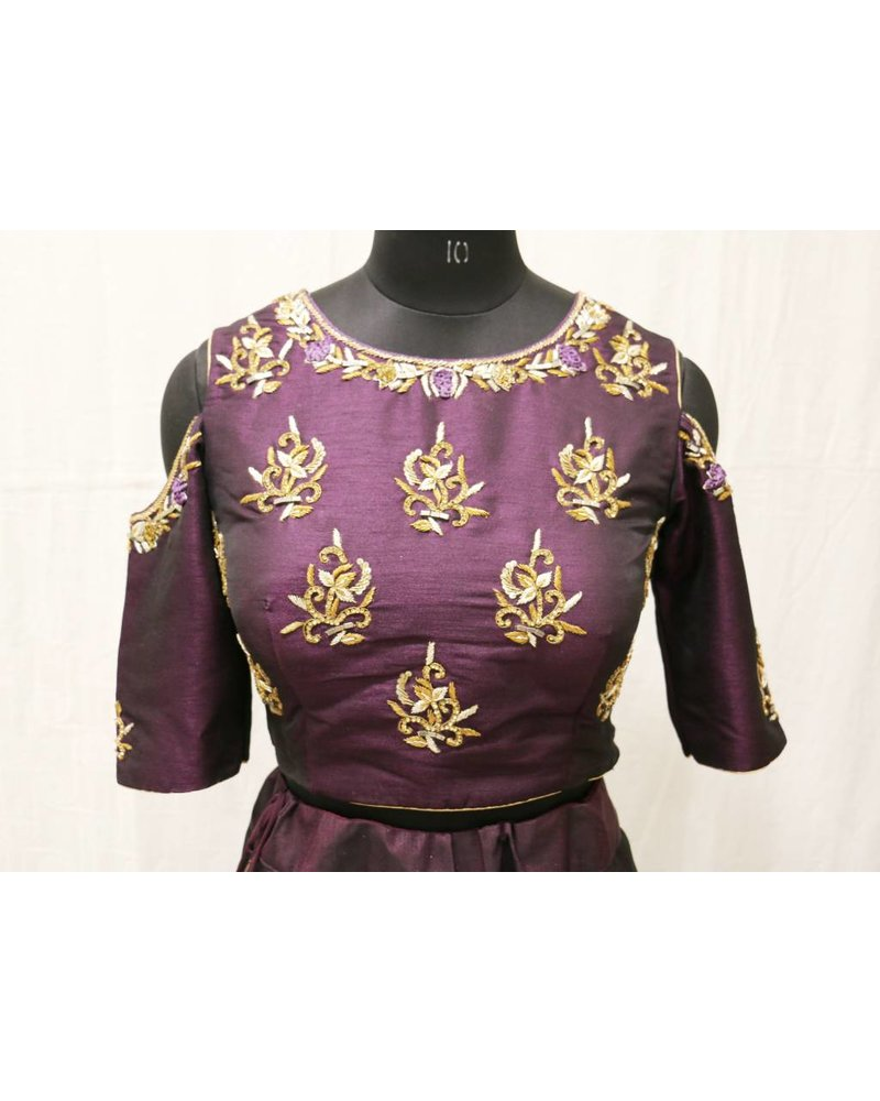 Brinjal Embroidered Choli with Matching Lehenga