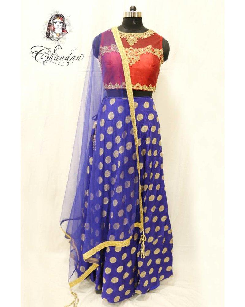 Maroon Embroidered Choli With Royal Blue Lehenga