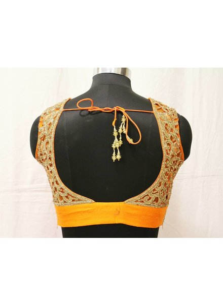 Orange Embroidered Choli With Pink Lehenga