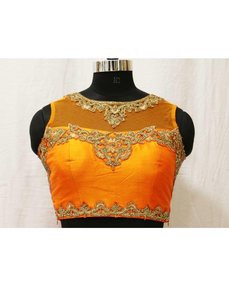 Orange Embroidered Choli With Pink Lehenga