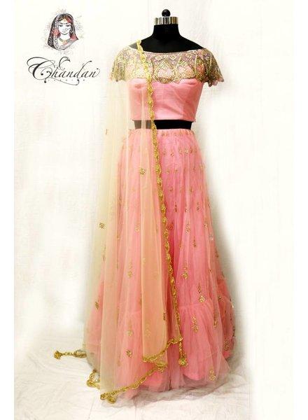 Baby Pink Choli with Stonework and Matching Net Lehenga