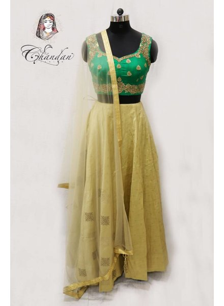 Green Embroidered Choli with Gold Lehenga