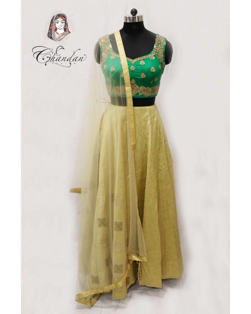 Green Embroidered Choli with Gold Lehenga