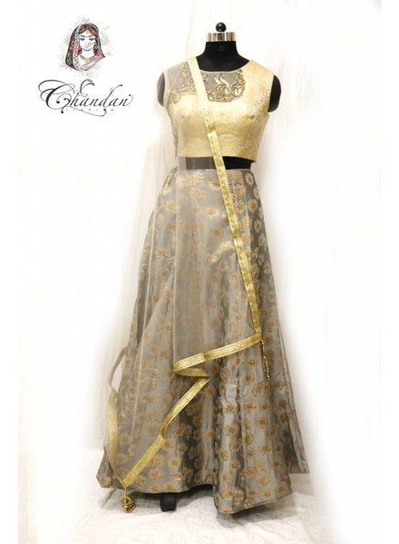 Gold Choli and Grey Lehenga in Brocade