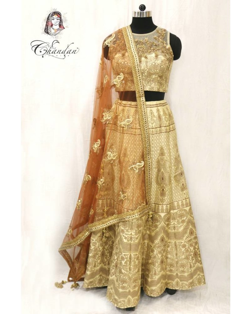Gold Net Embroidered Choli with Gold Printed Lehenga