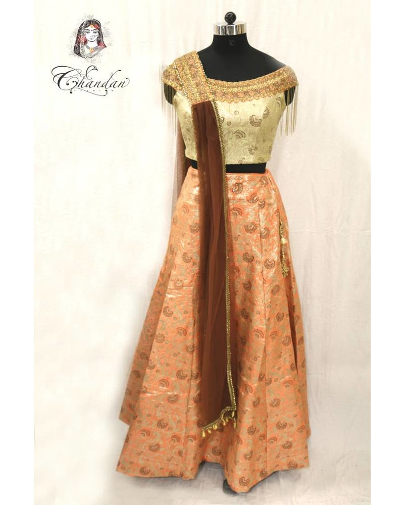 Gold Choli with Peach Lehenga