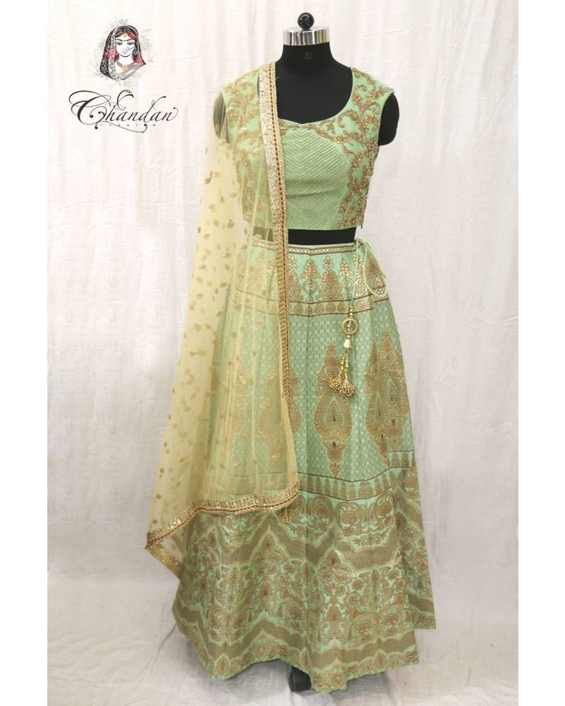 Pista Choli with Sippy work and Pista Lehenga