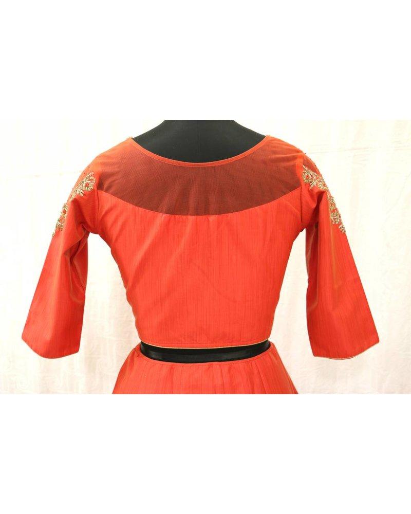 Orange Embroidered Choli with Orange Lehenga