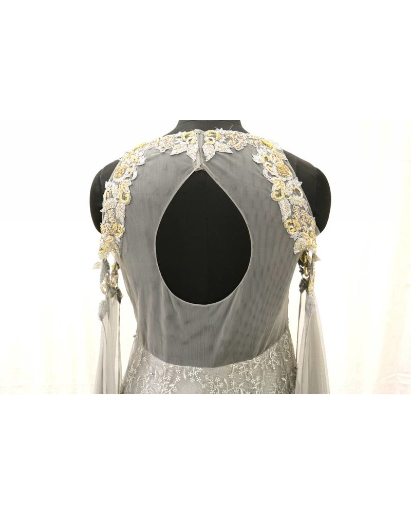 Grey Net Embroidered Gown with Pearl Detailing