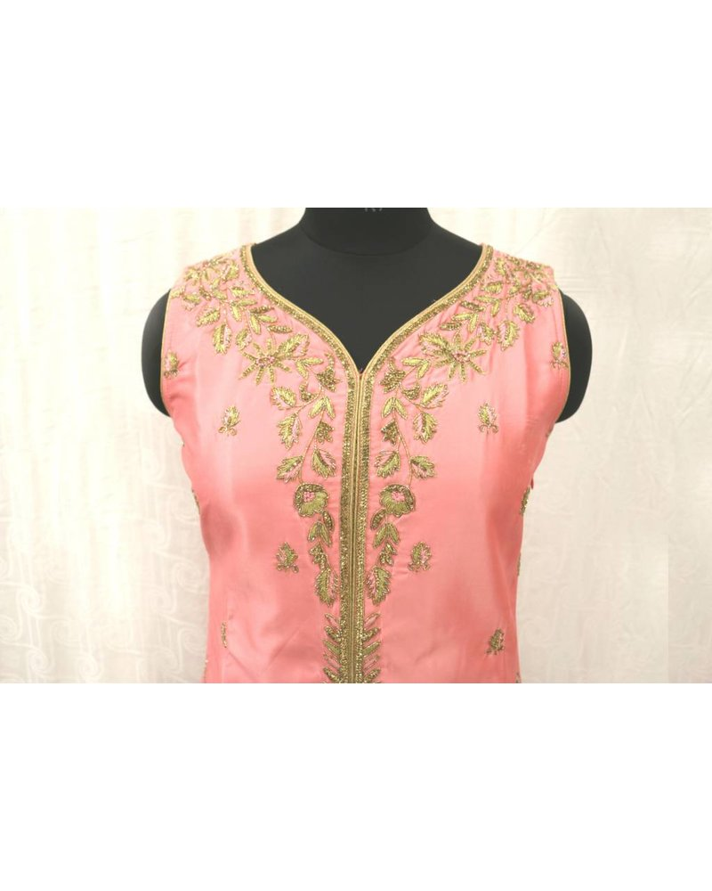Pink Embroidered Suit with Net Sharara