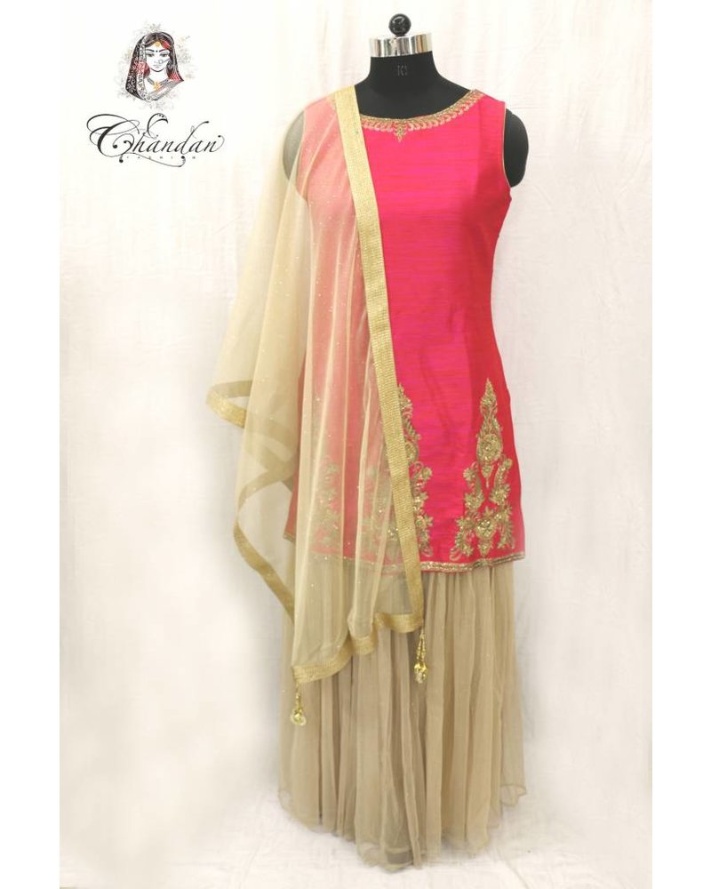 Pink Embroidered Suit With Gold Net Sharara
