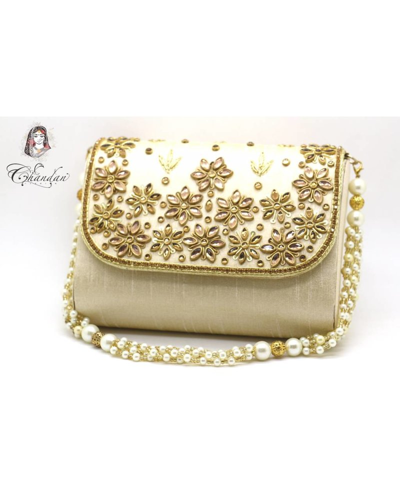 Cream Purse with Gold Stones