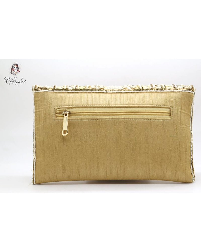 Gold Purse with Stone And Pearl Detailing