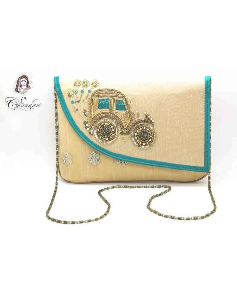 Gold Purse with Green Detailing