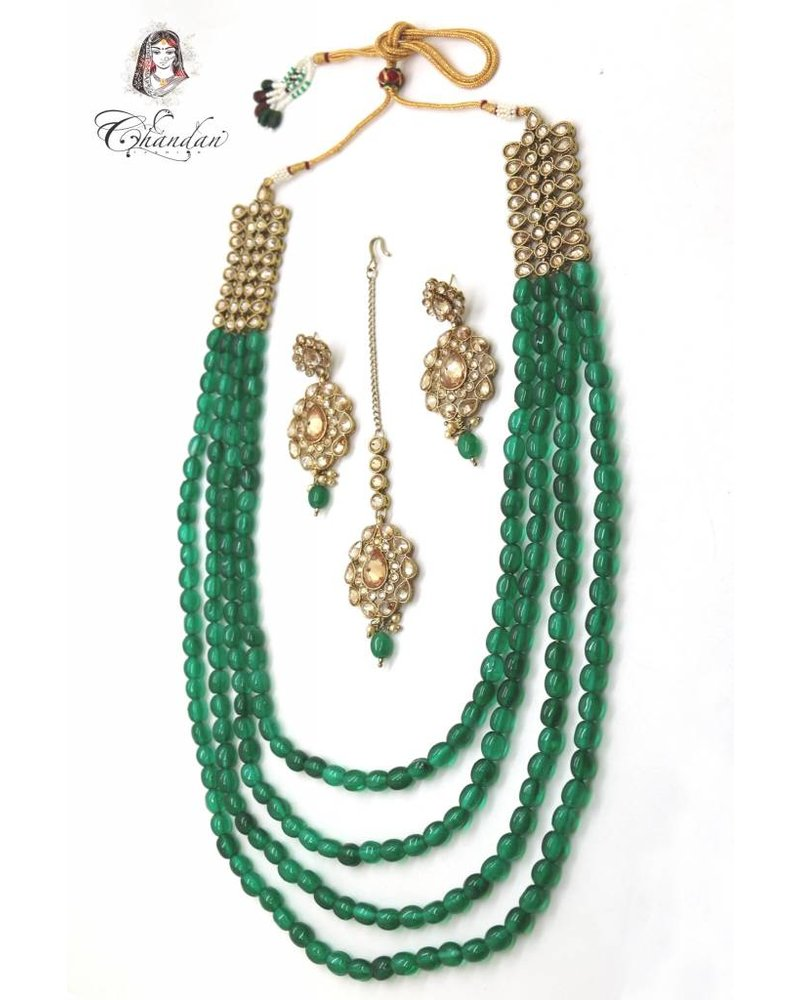 Green Pearls Necklace Set