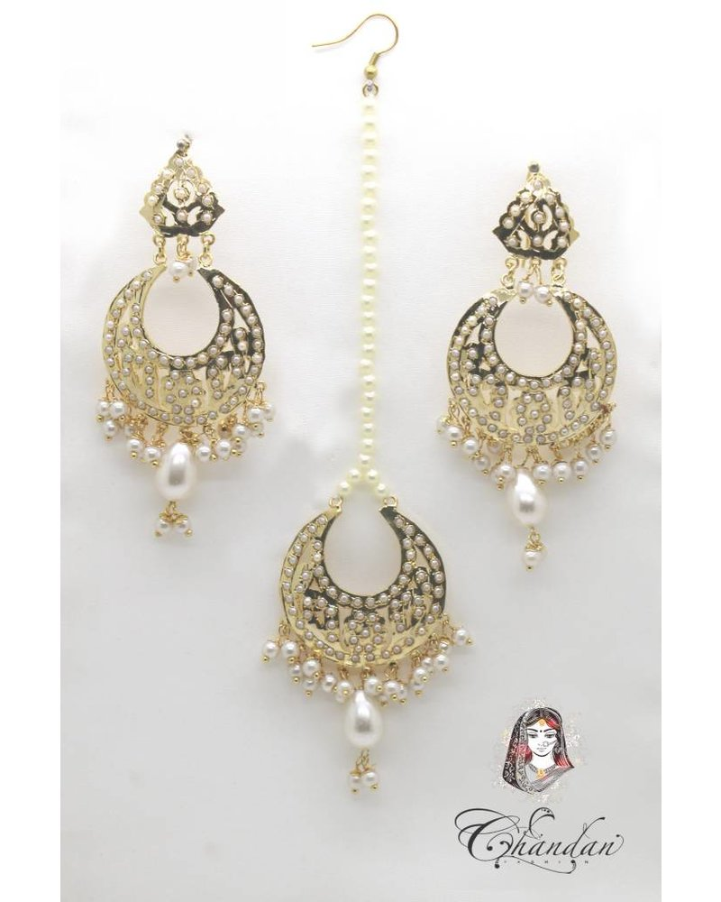 Gold Earings  and Tikka with white beeds