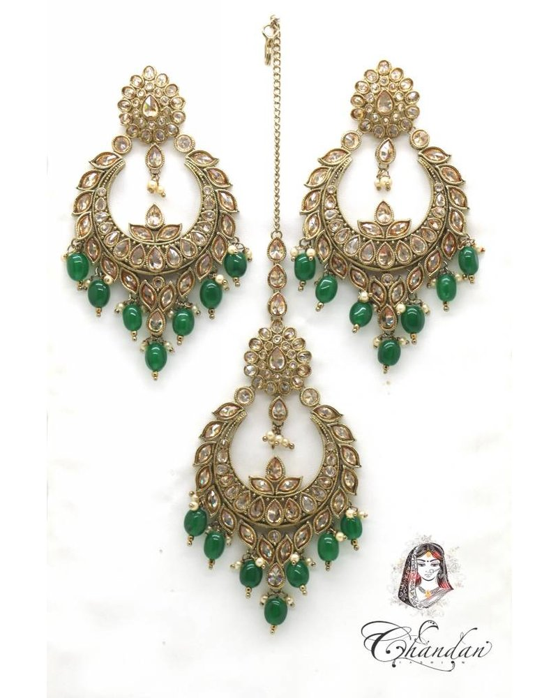 Golden Earings and Tikka with Green pearls and Gold stones