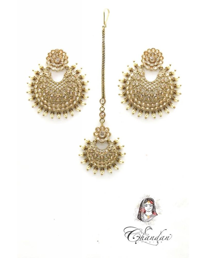 Golden Earings and Tikka with pearls and stones