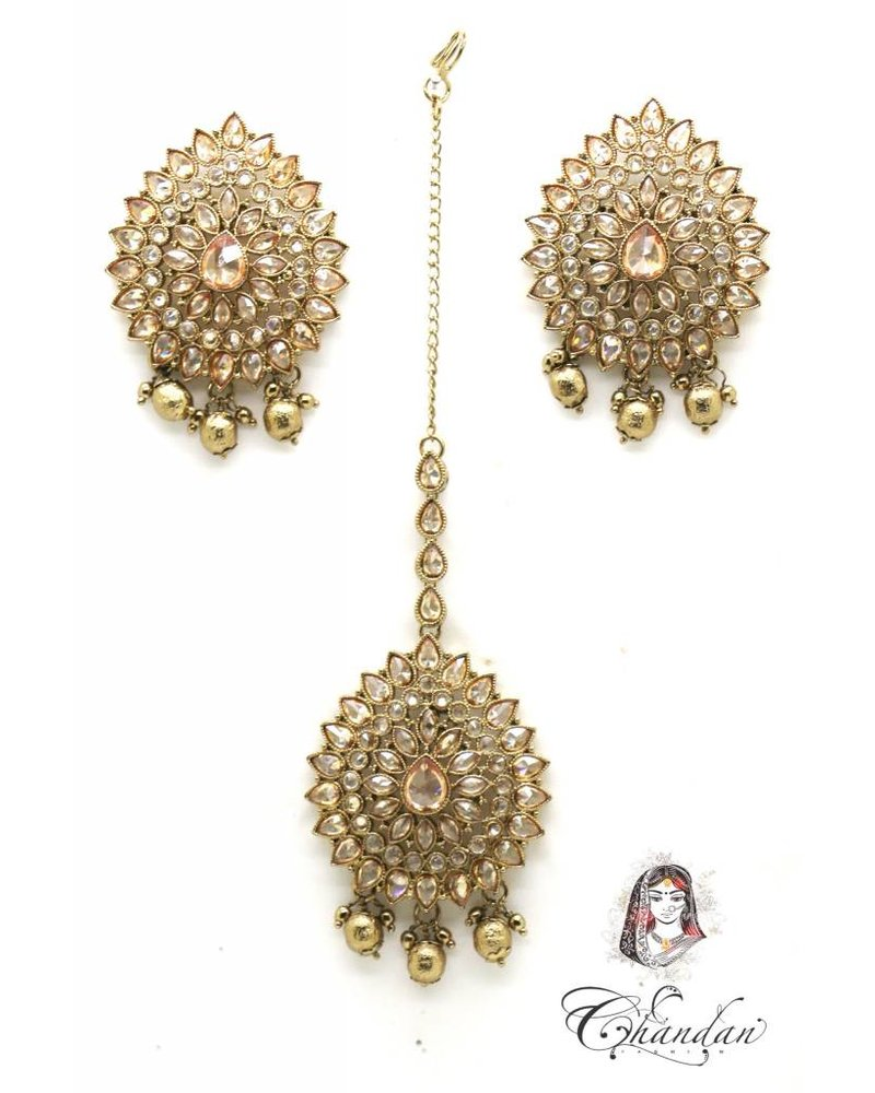 Golden Earings and Tikka with stones