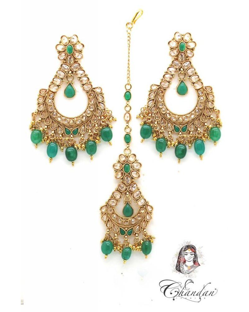 Golden Earings and Tikka with Green pearls and stones