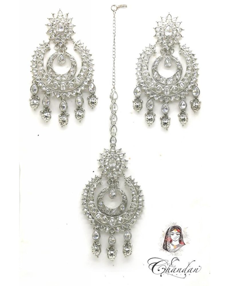 Silver Earings and Tikka with stones