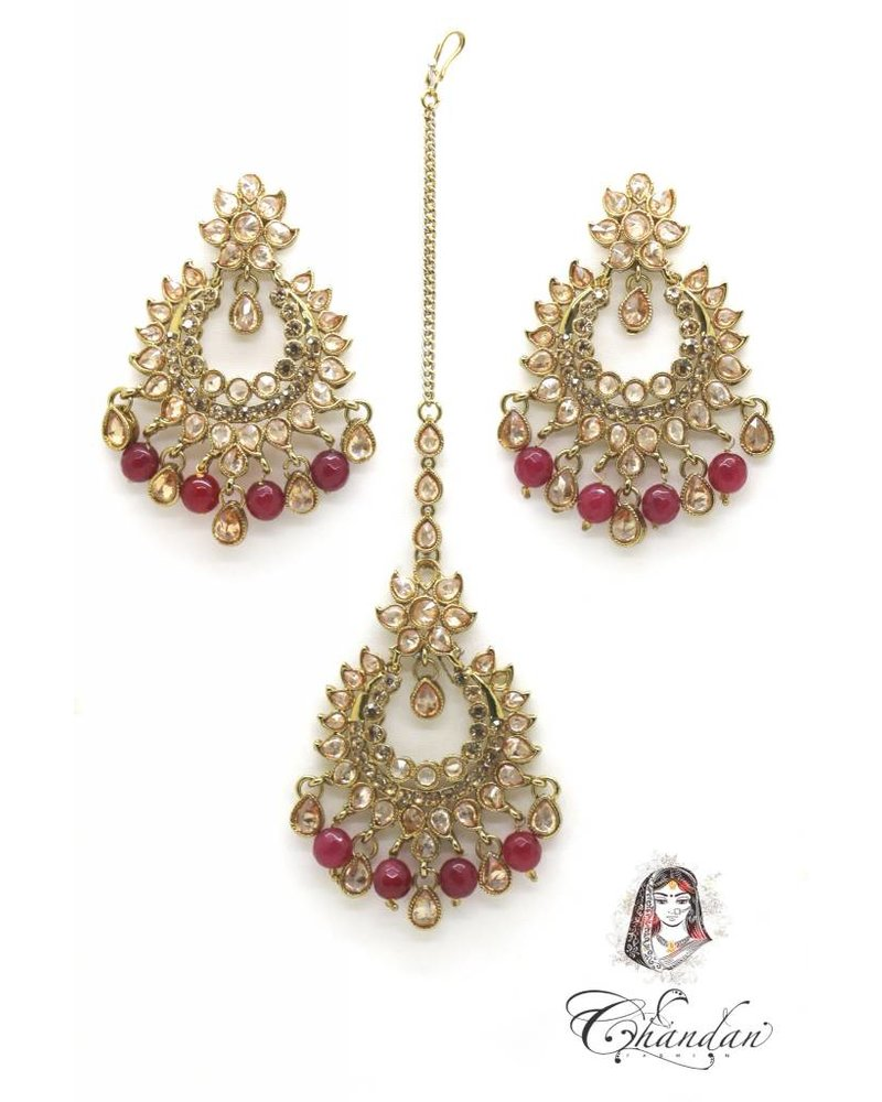 Golden Earings and Tikka with Maroon pearls and stones