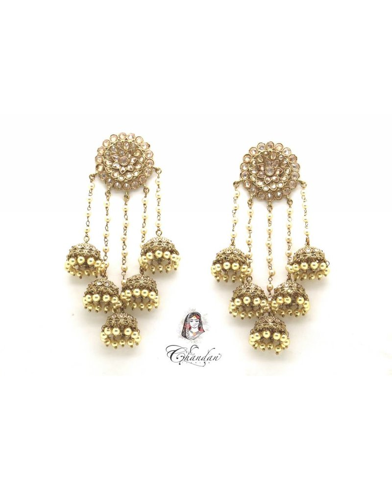 Golden Polki Earings with pearls and stones
