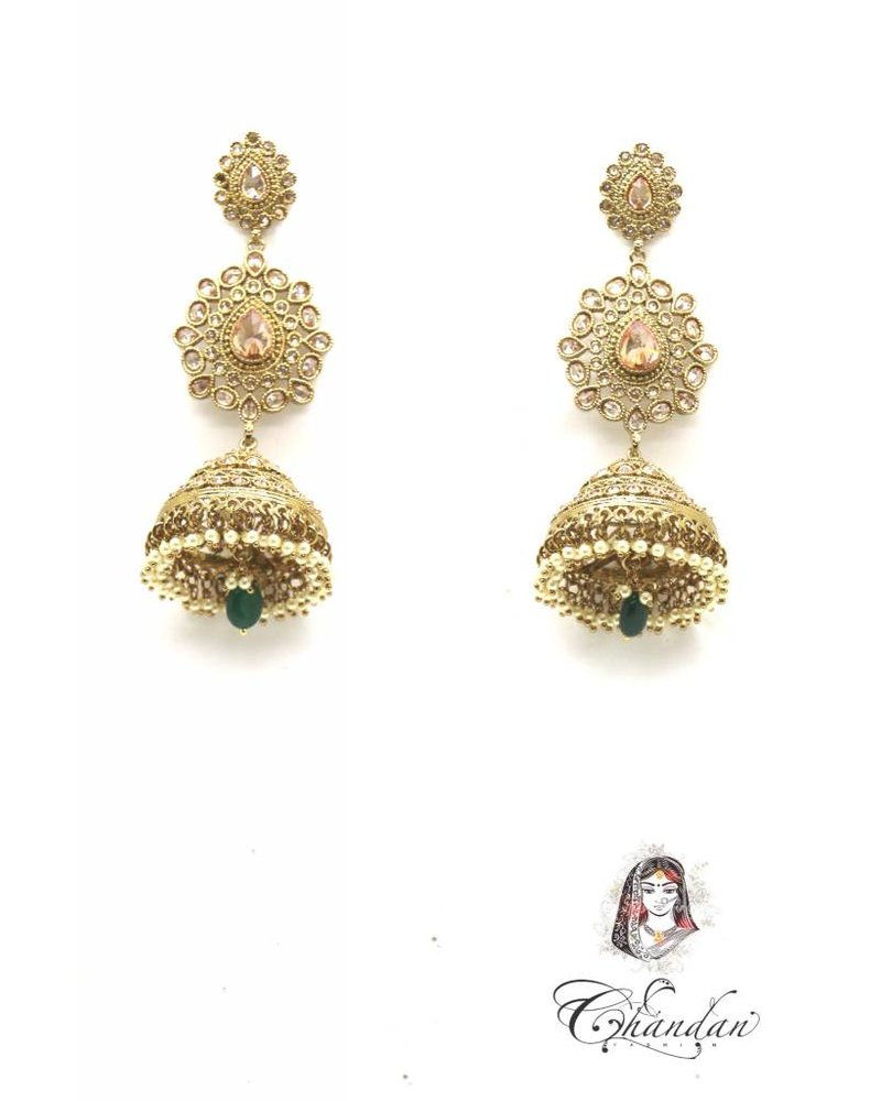 Golden Polki Earings with Green pearl and stones