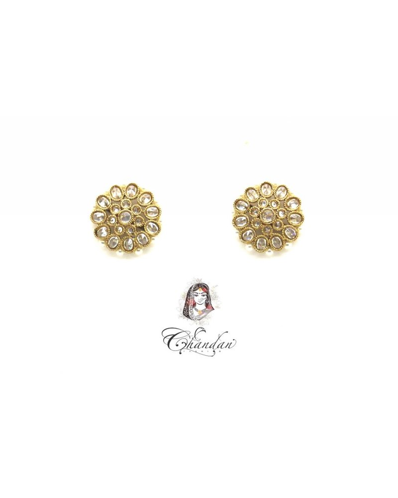 Golden Earings With White Stones