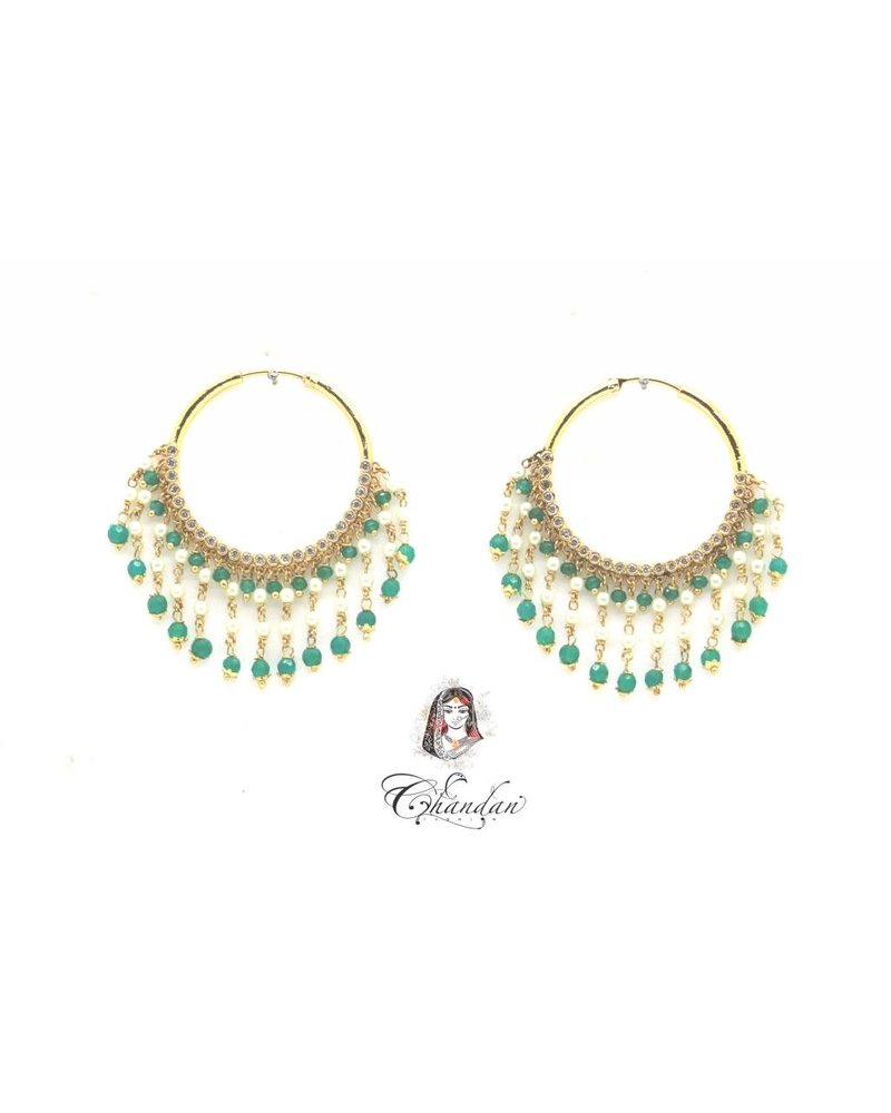 Golden Earings With White & Green Pearls & Stones