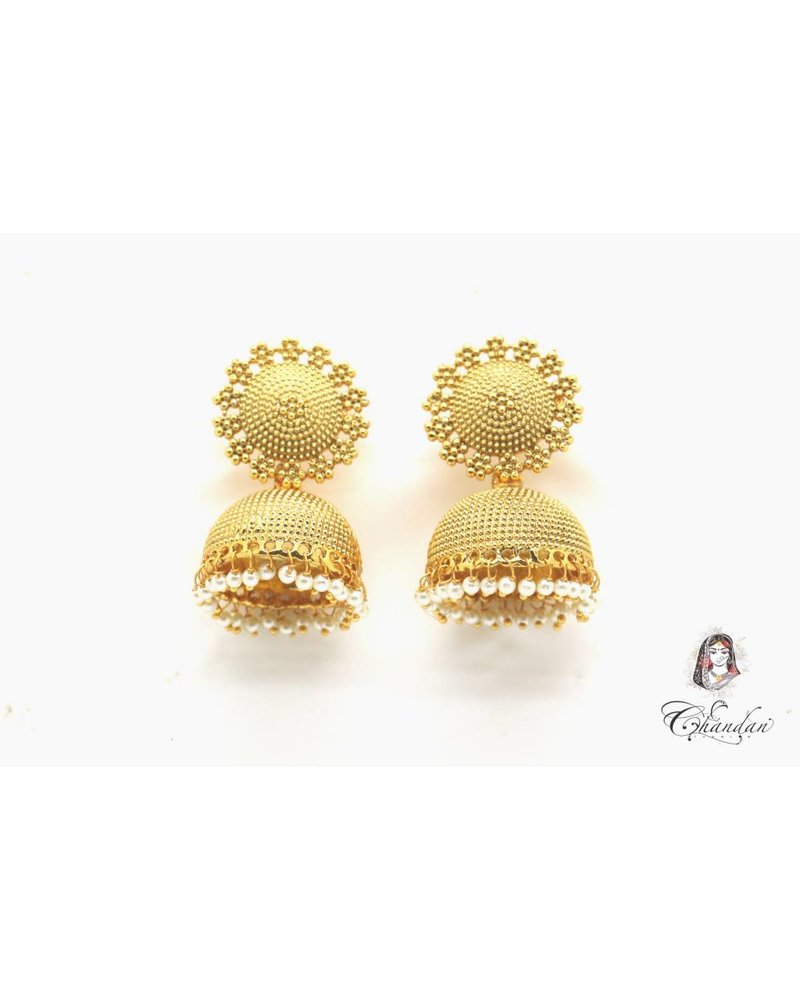 Golden Polki Earings With White Pearls