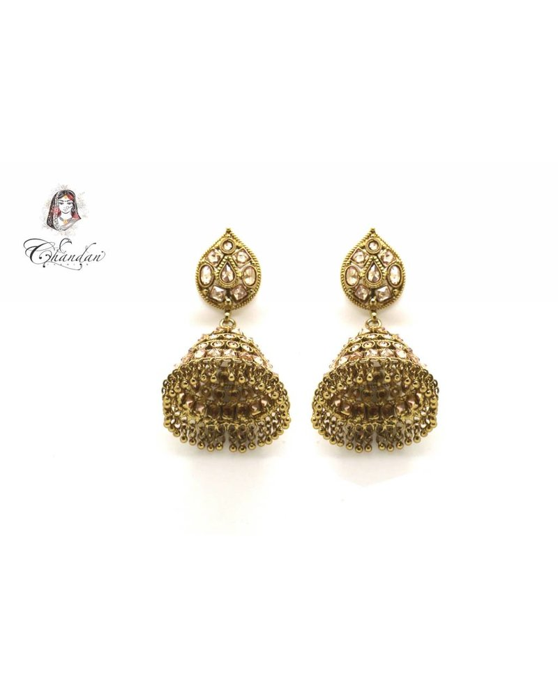 Golden Polki Earings With Stones