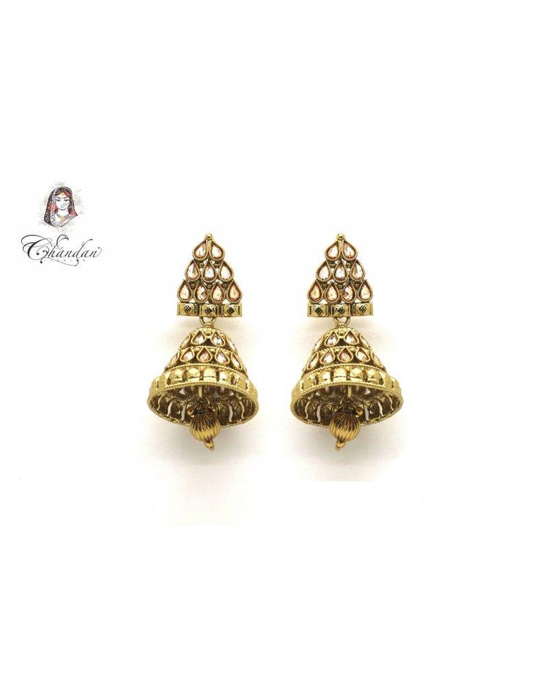 Golden Polki Earings With Stones