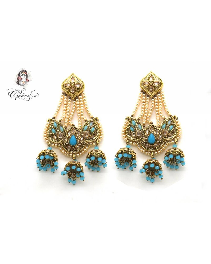 Golden Polki Earings With Blue Stones and Pearls