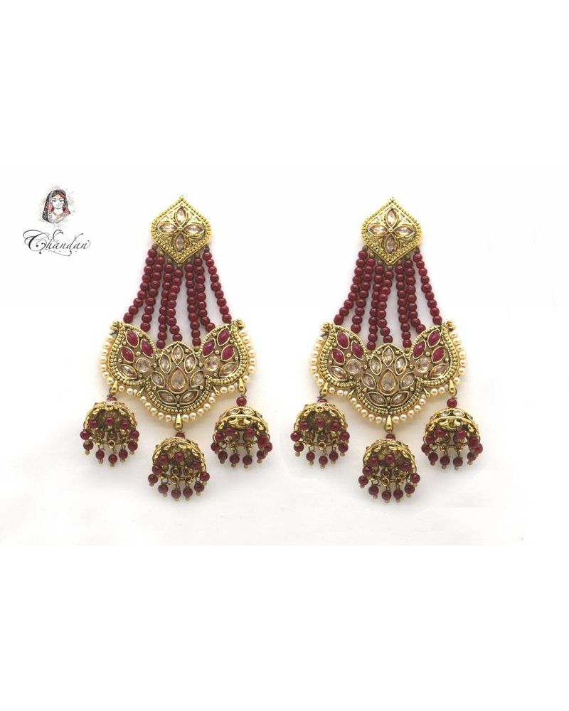 Golden Polki Earings With Maroon Stones and Pearls
