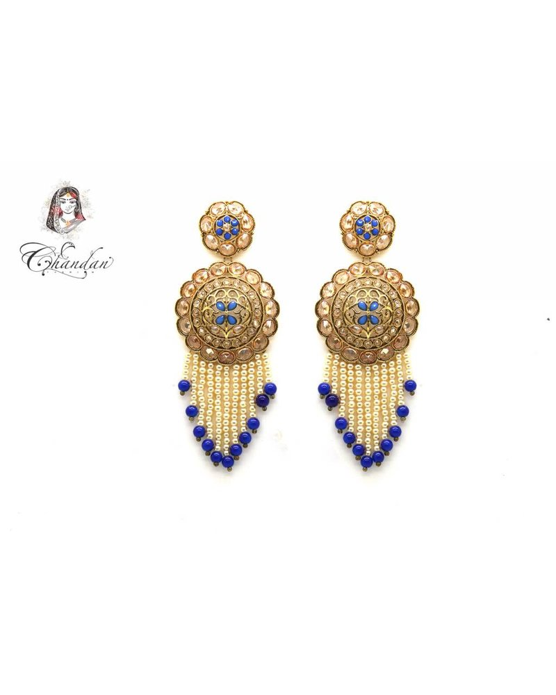 Gold Long earings with blue and white pearls and stones