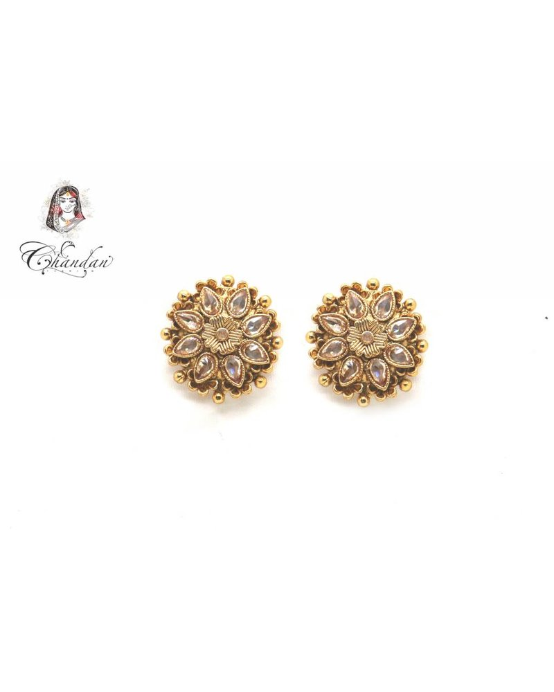Golden Earings With Stones