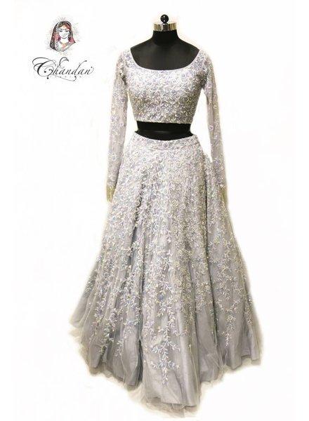 Grey Heavy Bridal Lehenga Choli