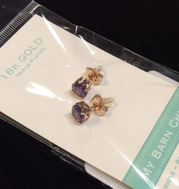 My Barn Child My Barn Child 18K Gold Earrings - Rose Gold/Purple