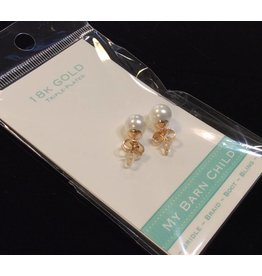 My Barn Child My Barn Child 18K Gold Earrings - Yellow Gold/White Pearl