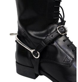Black Leather Spur Straps with Stitching