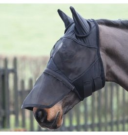 Shires Shires Fly Mask w Ears and Zip Nose Black